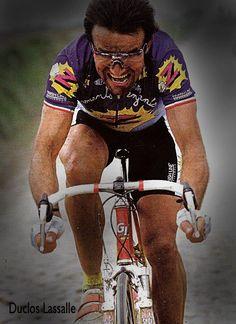 Paris Roubaix (1992?) - Gilbert Duclos Lasalle. Notice the Rock Shox front fork #parisroubaix #vélo #cyclisme #nord #paris #roubaix #lenferdunord #hellofthenorth #gilbertducloslasalle