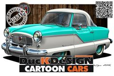 Nash-Metropolitan-2 | by DucK DeSIGN studio Car Illustration, Car Drawings, Photo Studio, Caricature, Classic Cars, Cartoon, Design, Drawings Of Cars, Vintage Classic Cars