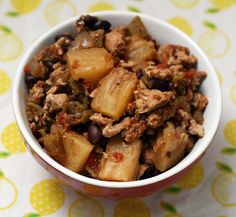 Green chili pineapple chili with chicken or ground beef ... Add diced tomatoes ...looks like Jamaican jerk style