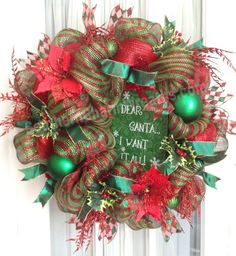 PREMIUM XL Deco Mesh CHRISTMAS Wreath For Door or Wall Red Emerald Stripe