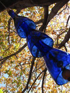 Wine Bottle Wind Chimes in Cobalt Blue CYBER by GreenGlassDesigns