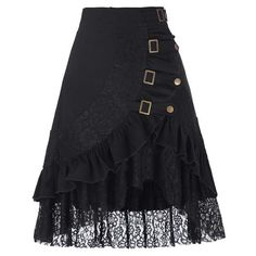 Black Skirt Lace Buckles Rivet Snaps-Steampunk Funk