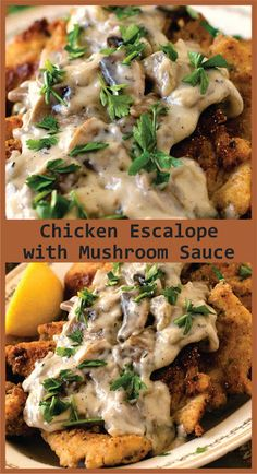 Chicken Escalope with Mushroom Sauce Lemon Recipes, Healthy Recipes, Cooking For Three, Western Food, Stuffed Mushrooms, Stuffed Peppers, Mushroom Sauce, Chicken Salad Recipes, Garlic Chicken