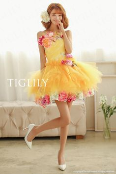 Discover TIGLILY's newest designer wedding dresses. Pretty Dresses, Beautiful Dresses, Career In Fashion Designing, Kawaii Dress, Fairytale Dress, Shades Of Yellow, Mori Girl, Short Prom, Mellow Yellow