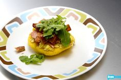 Joshua Valentine's Cornmeal Cake with Canadian Bacon, Scrambled Eggs & Smoked Salmon