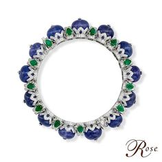 Best Diamond Bracelets : Presenting this beautiful bracelet from The House of Rose adorned with round Tanzanites, Emeralds and brilliant-cut Diamonds, set in white Gold from our Colours of Life collection. Diamond Brooch, Diamond Bracelets, Gemstone Bracelets, Diamond Jewellery, Ruby Bangles, Gold Bangles, Antique Jewelry, Gold Jewelry, Fine Jewelry
