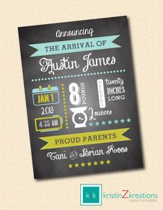 CHALKBOARD baby announcement custom printable by kristinZkreations, $15.00