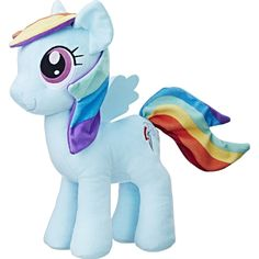This is a My Little Pony Rainbow Dash 12 Inch Plush Figure that& produced by the good folks over at Hasbro. Rainbow Dash is roughly 12 inches tall and super s Rainbow Dash, Disney Pixar, Disney Characters, Toy Story, My Little Pony Fabric, Transformers, Nerf, Videogames, Ri Happy