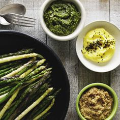 Asparagus with dashi butter, pinning for the dashi butter recipe alone..