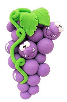 *POLYMER CLAY ~ Goofy Grape Magnet from Clayful Creations by Becky: Kitchen & Dining
