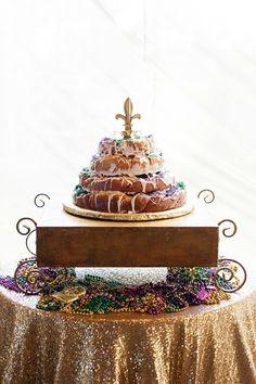 Design Portfolio | Planner + Designer | Elyse Jennings Weddings, Photo | Greer Gattuso Photography, New Orleans wedding, groom's cake, stacked king cakes, king cake groom's cake, gold sequins, mardi gras
