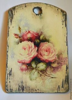 vintage board with decopague flower Decoupage Wood, Decoupage Vintage, Wood Crafts, Diy And Crafts, Arts And Crafts, Tole Painting, Painting On Wood, Shabby Chic Crafts, Hand Painted Furniture