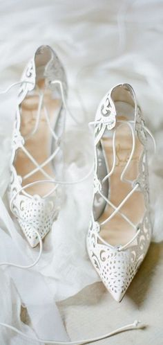 """White Lace Strappy Christian Louboutin Red Bottoms Pointed Toe High Heels in """"Impera"""""""