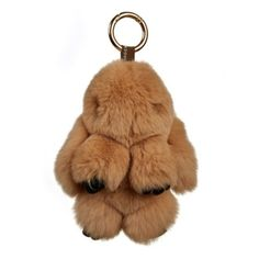 Fluffy Bunny Keyring- Camel (940 UAH) ❤ liked on Polyvore featuring accessories, ring key chain and key chain rings