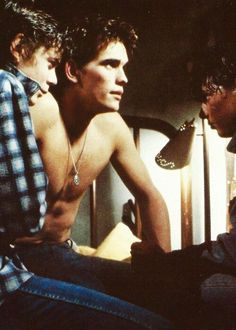 Ponyboy Curtis,Dallas Winston and Johnny Cade The Outsiders Cast, Dallas Winston, Ralph Macchio, Three Best Friends, Matt Dillon, Stay Gold, Cute Actors, Day Of My Life, Vintage Movies