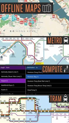 Hong Kong Travel App | 100% Offline Maps + Interactive Metro routing App + Pick your starting and ending destination point and it calculates the route for you | by eTips