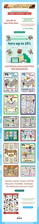 PE Resource Cyber Monday Sale Pe Activities, Pe Games, Physical Education Games, Cyber Monday Sales, Teacher, Templates, Professor, Stencils, Teachers