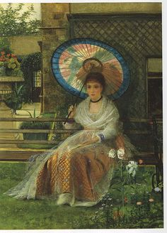 """""""In the Pleasaunce"""" by John Atkinson Grimshaw, 1875. Detail"""