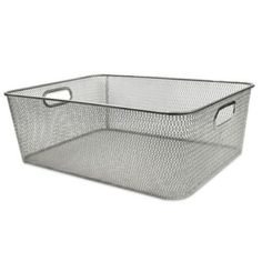 """Durable Mesh Shallow Bin in Silver - BedBathandBeyond.com  - Just what I need to go in the Blickman cabinet. 14.5"""" x 10"""""""