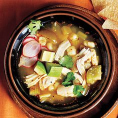 Supefast Chicken Posole  This is my go-to soup that is so easy and so quick and delicious - I substitute canned for fresh tomatillos and use 48 oz of broth.  Enjoy!