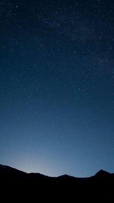 Mountains Night Silhouette Stars Sky iPhone 6 Plus HD Wallpaper