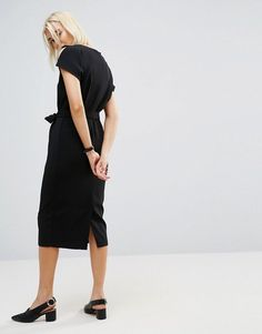 ASOS Belted Midi Dress with Split Cap sleeve and Pencil Skirt - Black