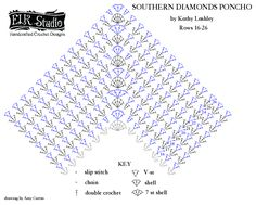 Southern Diamonds Poncho Stitch Diagrams 16-26 - ELK Studio - Handcrafted Crochet Designs