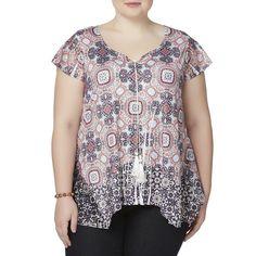 acaf6bb4700 Simply Emma Womens Plus Peasant Top Geometric Paisley size 1X NEW  https   www