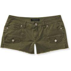 Aeropostale Color-Wash Cargo Shorty Shorts ($8.99) ❤ liked on Polyvore featuring shorts, pebble olive, basketball shorts, olive cargo shorts, cotton cargo shorts, aeropostale shorts and aéropostale