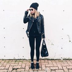 """""""All black everything via @theaugustdiaries wearing our Mackage Rumer jacket, Auxilary Balthasar satchel and Babaton Dennis hat. #myaritzia"""""""