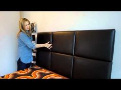 15x20 upholstered headboard panels hung horizontally upholstered in gray blizzard faux leather. 30 panels create an overall headboard dimension of \u2026