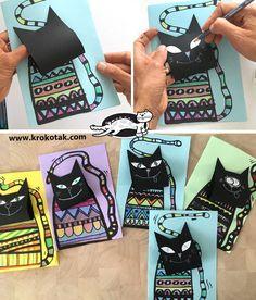 krokotak | Cats Spring Art Projects, Spring Crafts For Kids, Easy Crafts For Kids, Diy For Kids, Bricolage Halloween, Halloween Art, Classroom Art Projects, Art Classroom, Animals