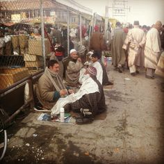 Roadside Barbers at Dargah, Hazratbal