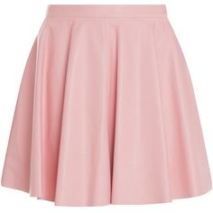 DROME Leather Flare Skirt ($729) ❤ liked on Polyvore featuring skirts, bottoms, saias, faldas, pink skirt, flared skirts, leather skater skirt, skater skirt and leather circle skirt