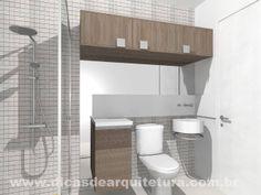 Banheiro aconchegante com armários. http://dicasdearquitetura.com.br/3-solucoes-para-o-banheiro/