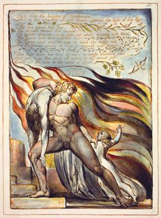 William Blake: 'Europe a Prophecy', object 18 (Bentley 18, Erdman 15, Keynes 15), copy K, 1821. Relief and white-line etching with hand coloring on wove paper. Fitzwilliam Museum, Cambridge, UK