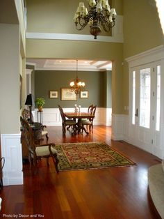 Traditional dining room with a French country feel, coffered ceiling, large chandeliers in each room and cherry wood floors. See how to keep your hardwood floors by clicking on the Pin. Cherry Hardwood Flooring, Mahogany Flooring, Cherry Wood Floors, Clean Hardwood Floors, Living Room Wood Floor, Living Room White, Living Room Flooring, White Rooms, Family Room Design