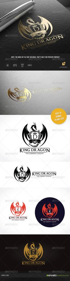 King Dragon II by LayerSky This logo design for all creative business. Consulting, Excellent logo,simple and unique concept. Logo Template FeaturesAI and EPS Typography Logo, Logo Branding, Branding Design, Crest Logo, Luxury Logo, Floral Logo, Geometric Logo, Best Logo Design, Crests