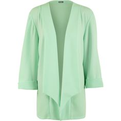 Leigh Crepe Waterfall Open Jacket ($35) ❤ liked on Polyvore featuring outerwear, jackets, green, plus size, green jacket, plus size jackets, 3/4 sleeve jacket, waterfall jacket y womens plus size jackets