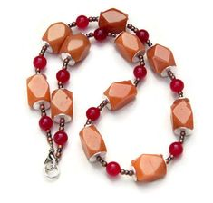 Warm colors necklace earrings Long stone necklace Tan red