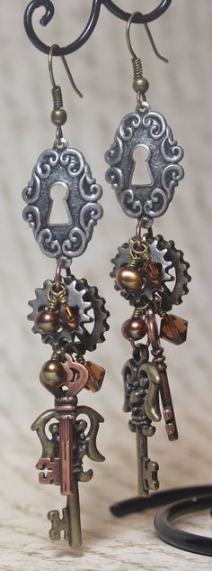 Isabel Steampunk Earrings $28.00, via Etsy.