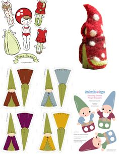 Gnome Paper Dolls Cut out Printable Templates