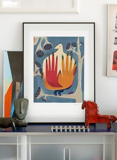 Birdie. lllustration art giclée print signed by the artist. A2 poster. Joy of spring in Warsaw.