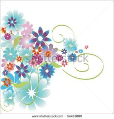 Floral decoration in blue tones - stock photo