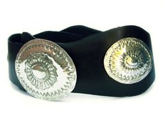 WAVE leather belt with alpaca buckle hand embossed