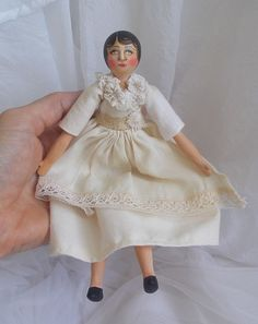Original Miniature Scherer Doll Vintage Style Folk Art Primitive Handmade Dress
