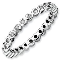 Zales Stackable Expressions Bezel-Set Lab-Created Blue Sapphire Eternity Style Ring in Sterling Silver KFSDhBOK