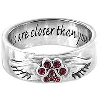 Angels Are Closer Than You Think™ Purple Paw Sterling Ring at The Animal Rescue Site