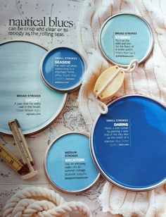 Paint Palette - Nautical Blues: Can be clear and crisp of moody as the rolling seas. Paint colors: Ocean Breeze by Olympic Kittery Blue by Ace Hardware Regale Blue by Sherwin Williams Blue Ocean by Behr Bluebelle by Benjamin Moore by bhg