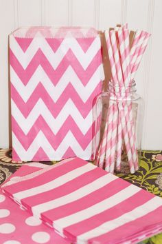 25 Paper Straws - PINK STRIPE Paper Straws with  Diy Flags, Birthday, Party, Baby Shower, Girls Party. $4.50, via Etsy.